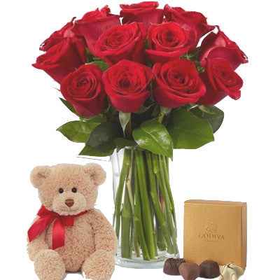 Long Stem Red Roses with Teddy Bear & Godiva Chocolates
