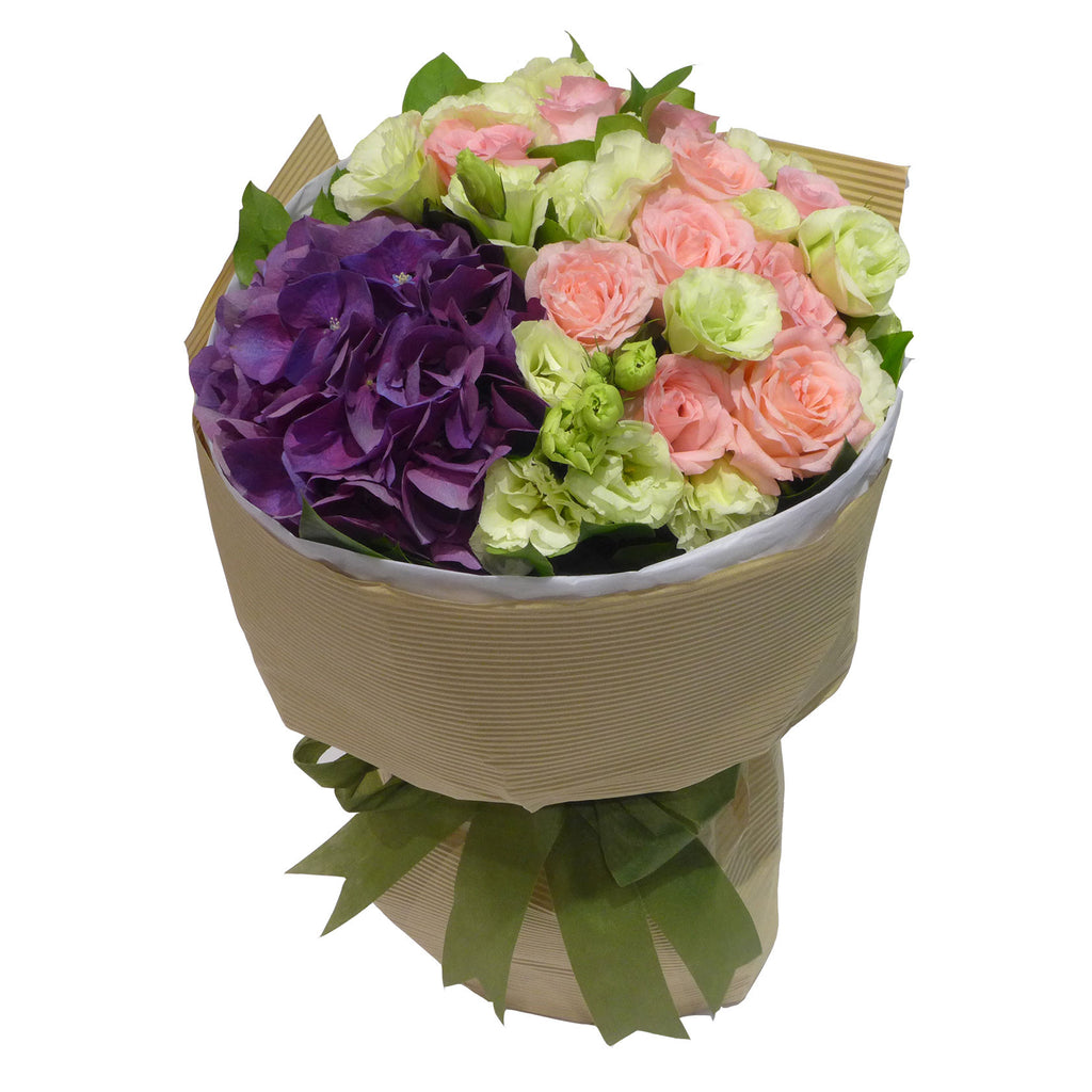 Hydrangea Flowers Arranged with Roses and Matching Greens