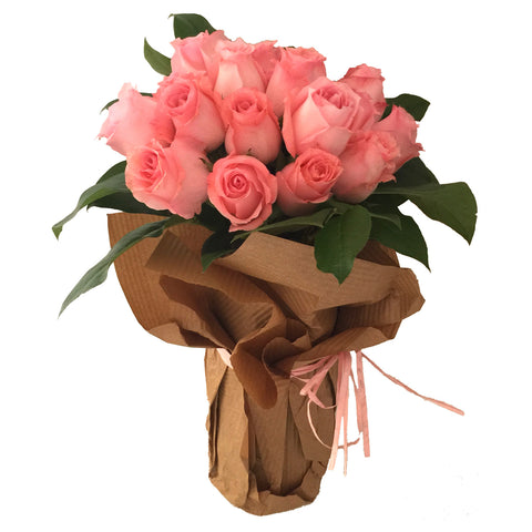 18 Long Stems Pink Roses Arranged in a Vase