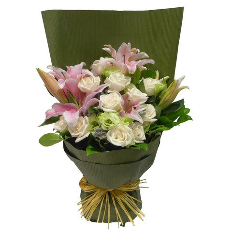 Stargazer Lilies Arranged with Roses and Greens