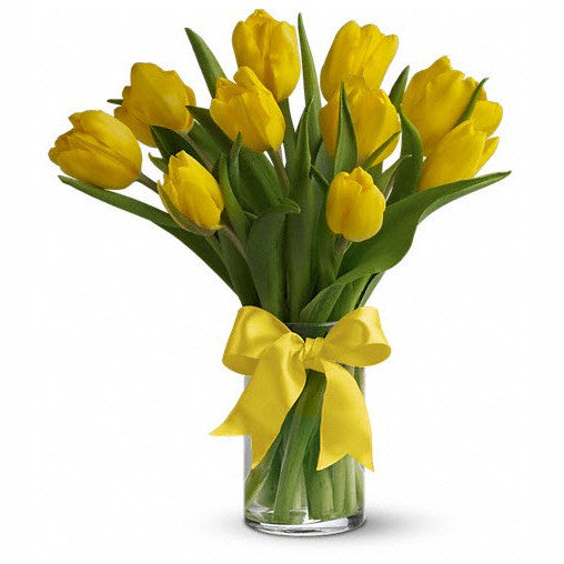 Sunny Yellow Tulips Arranged in a Vase
