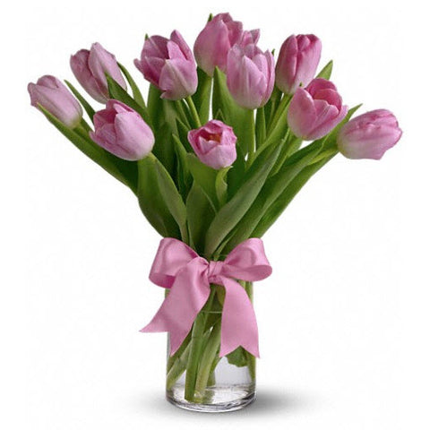 The Pink Prelude Tulips Arrangement in a Vase