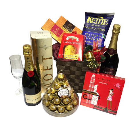 Grande Godiva and Champagne New Year Gift Basket
