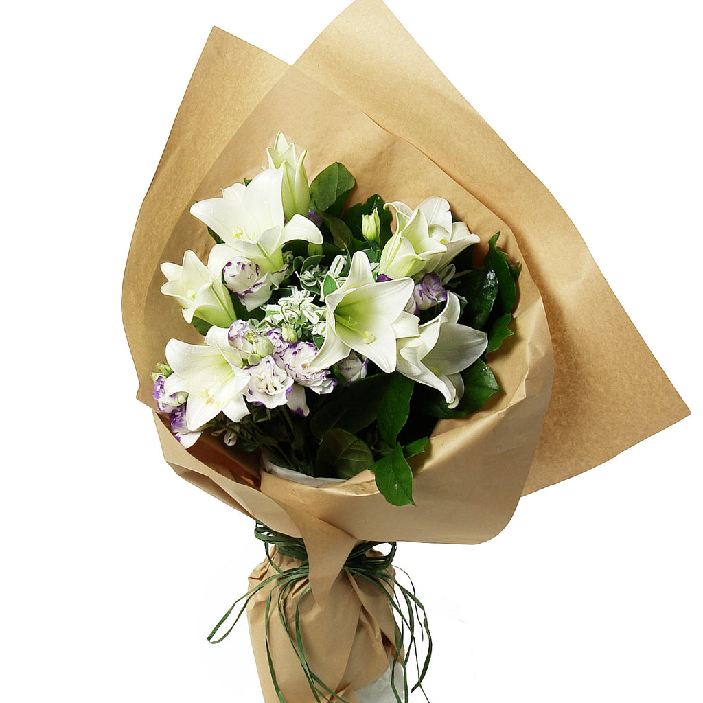 Lily Flowers Bouquet with Matching Greens