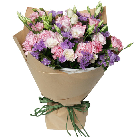 Mother's Day in Style - Pink Carnations Flower Bouquet with Matching Greens