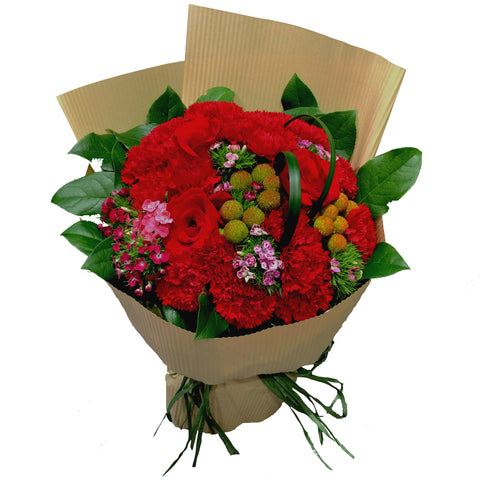 Mother's Day Special - Red Carnations Flower Bouquet with Matching Greens