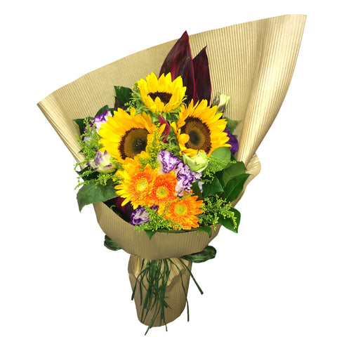 Sunflowers Flower Bouquet with Matching Flowers and Greens