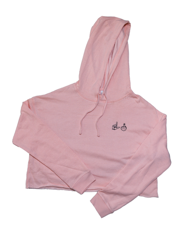 Womens Blush Crop Hoodie LI Hands