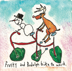 Frosty and Rudolph bike to work