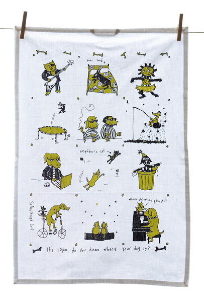 Tea Towel - It's 10pm; Do You Know Where Your Dog Is? (English & French)