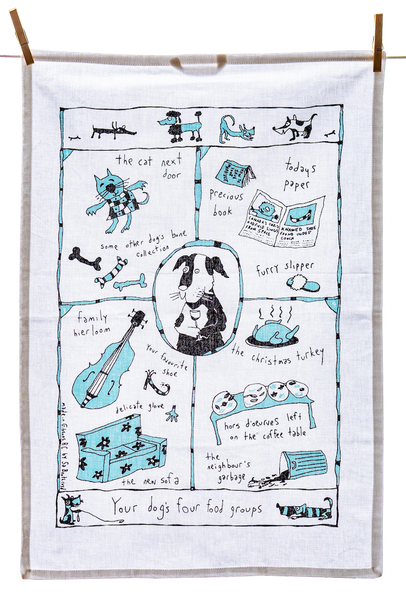 Tea Towel - Your Dog's Four Food Groups (English & French)