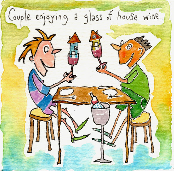 Couple enjoying a glass of house wine.