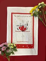 Tea Towel - Two Hearts in Sink with Each Other