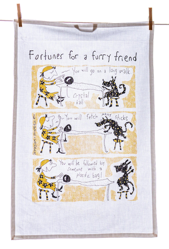 Tea Towel - Fortunes For a Furry Friend (English & French)