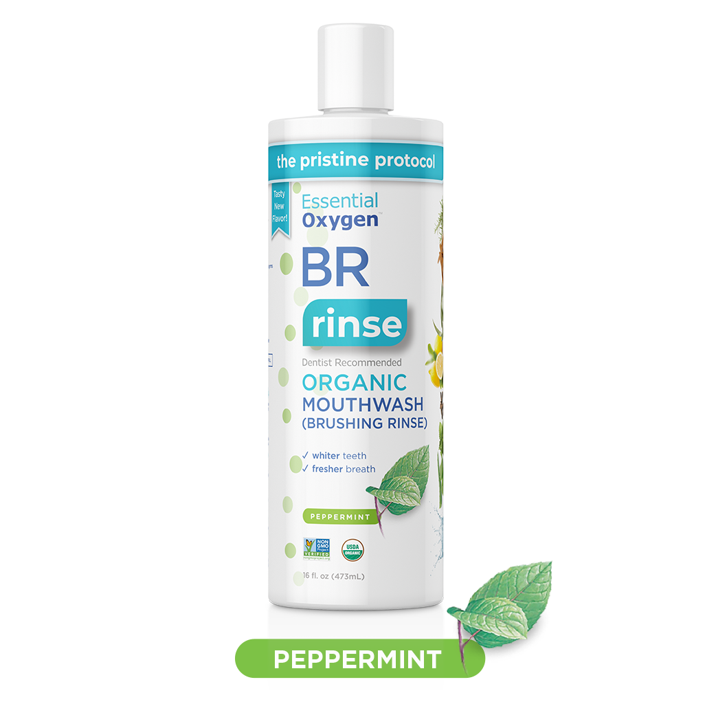 BR Organic Peppermint Mouthwash | Brushing Rinse (16oz)