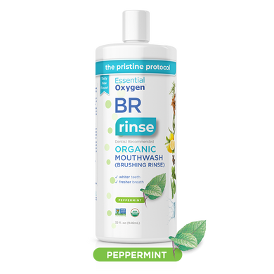 BR Organic Peppermint Mouthwash | Brushing Rinse (32oz)