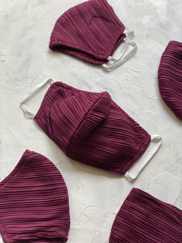 Pleats Mask in Maroon (Pre-Order 7 Working Days)