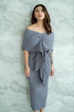 Jessie Dress in Grey Pleats
