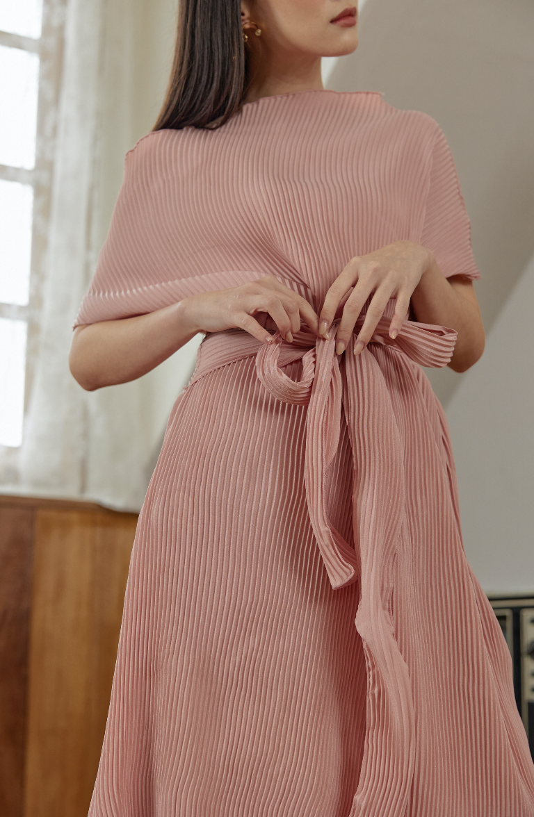 Michelle Dress in Pink Pleats (Pre-Order 10 Working Days)