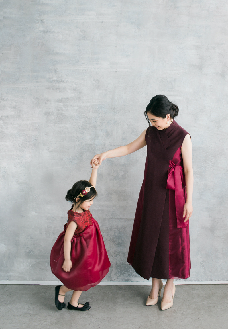 Linda Dress in Maroon (PRE-ORDER 10 WORKING DAYS)