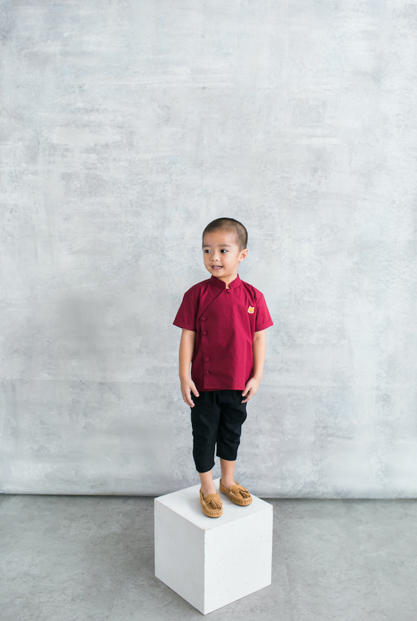 Leon Shirt in Maroon (PRE-ORDER 10 WORKING DAYS)