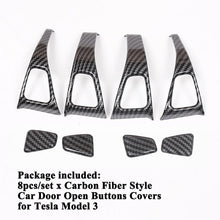Load image into Gallery viewer, Carbon Fiber Door Button Trim Kit for Tesla Model 3-Tesla Model Accessories Australia