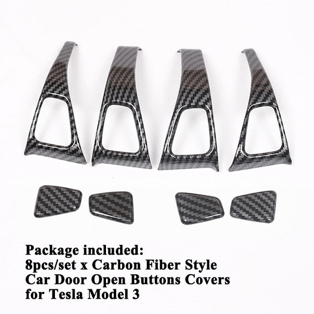 Carbon Fiber Door Button Trim Kit for Tesla Model 3-Tesla Model Accessories Australia