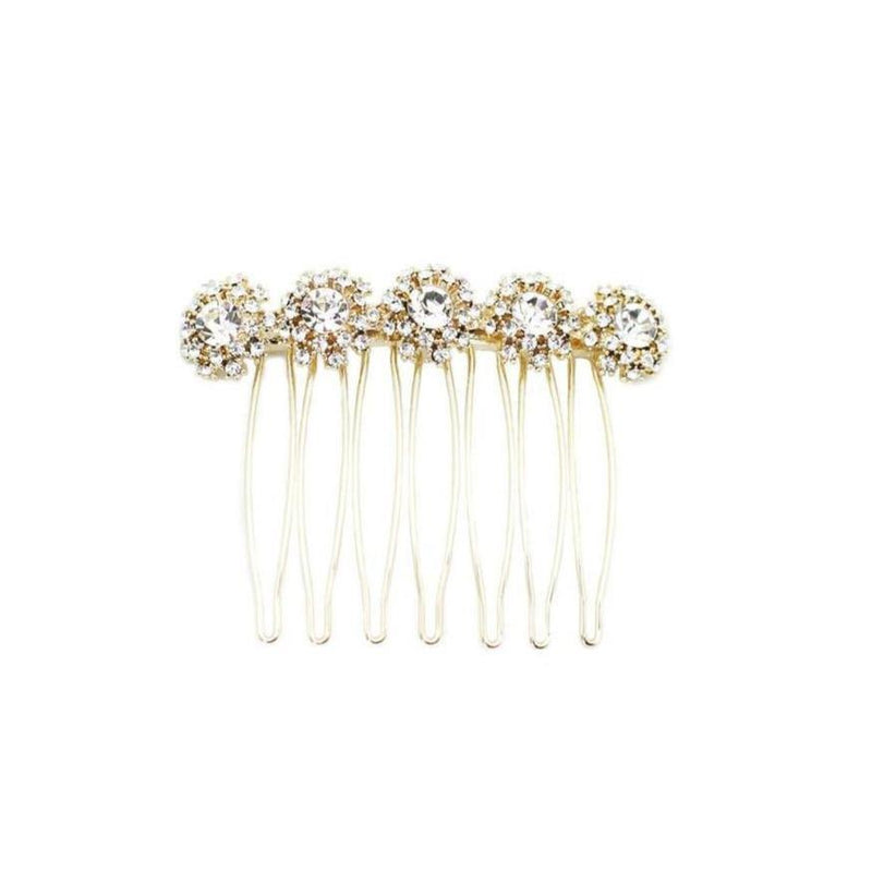 Floral Pattern Bejeweled Hair Comb
