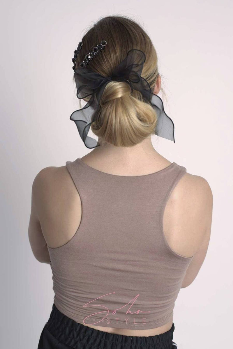 Chiffon Wire-Bow Ponytail Holder