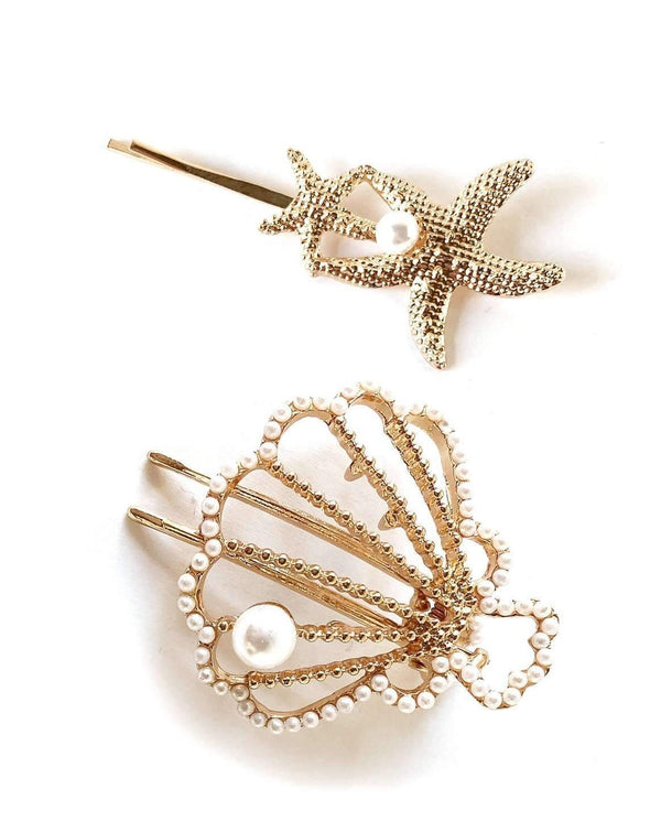 Large Seashell Pearl Hair Clip & Twin Starfish Bobby Pin Set