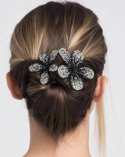 Large Dual Crystal Flower Barrette