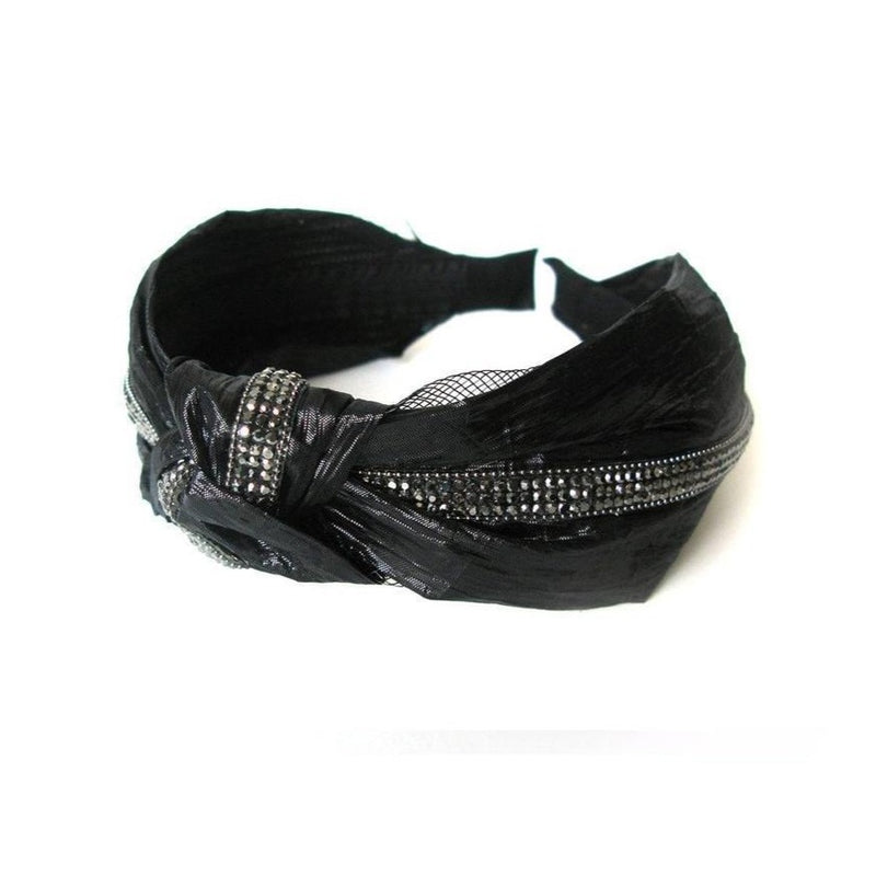 Vegan Leather and Rhinestone Black Headband