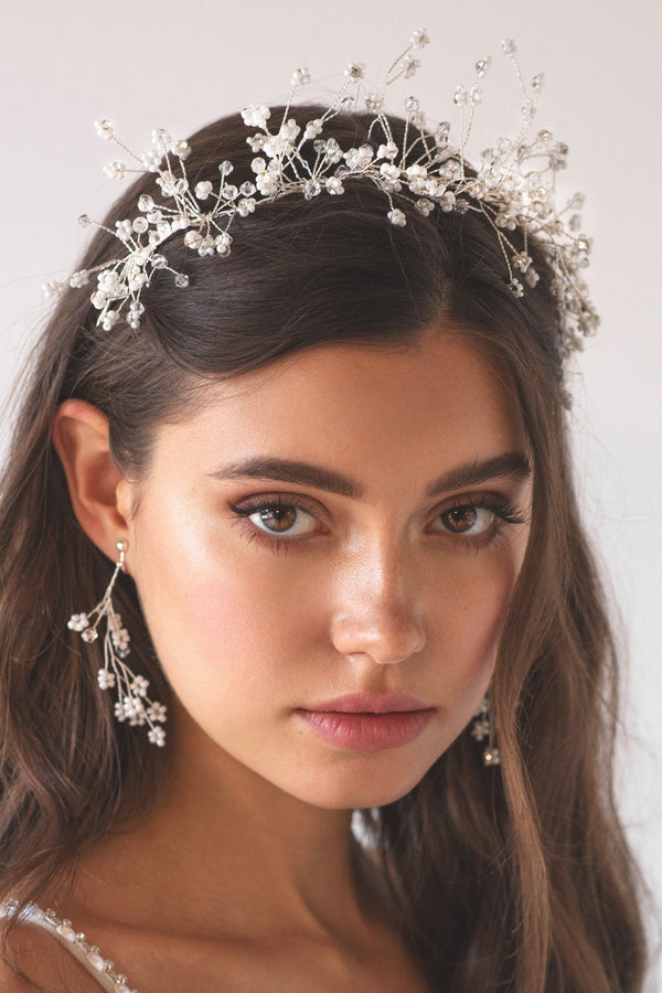 Floral Spray Crystal Hair Crown