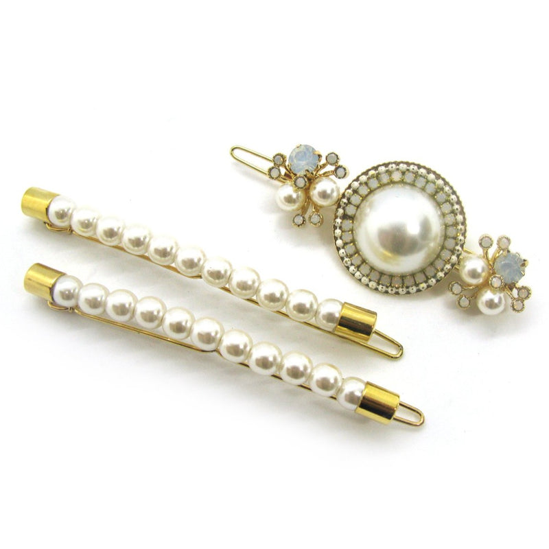 Luxe Pearl Statement Barrette & Pearl Bobby pin comb