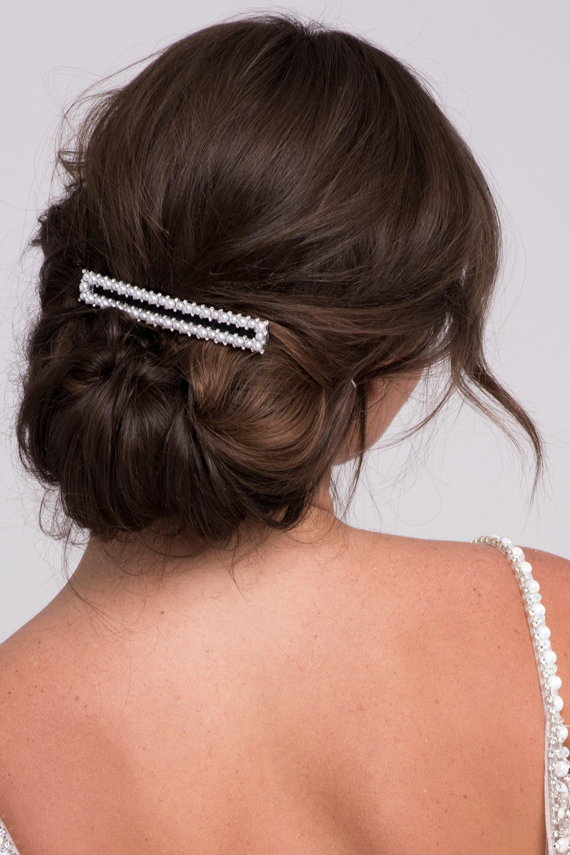 Extra-Long Faux Pearl & Black Ribbon Barrette