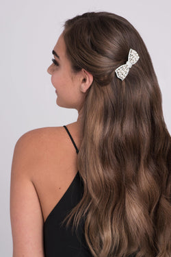 Pearl and Crystal Bow Barrette