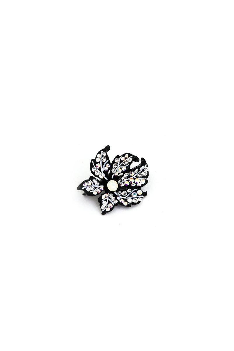 Soho Style Barrette clear Leafy Rose Crystal Mini Magnetic Barrette