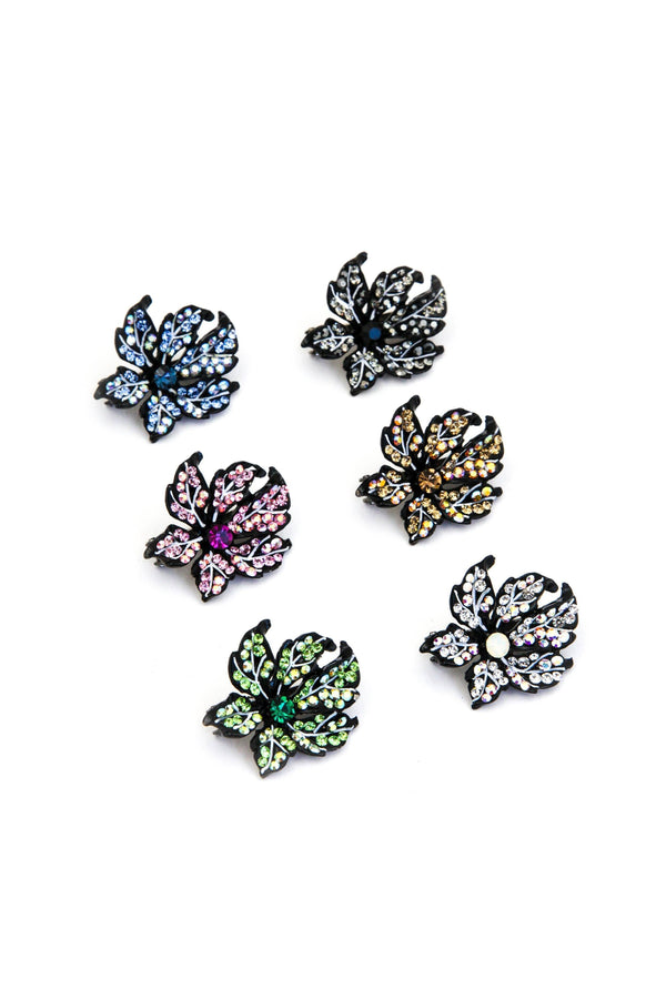 Soho Style Barrette Leafy Rose Crystal Mini Magnetic Barrette
