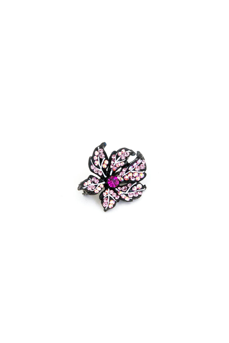 Soho Style Barrette pink Leafy Rose Crystal Mini Magnetic Barrette