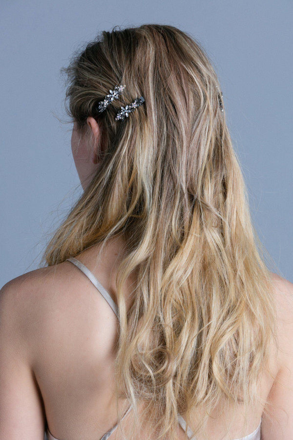 Frosted Flora Clips (Pair) -  Hair Clip, Soho Style
