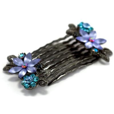 Frosted Flowers Hair Comb (Pair) -  Hair Comb, Soho Style