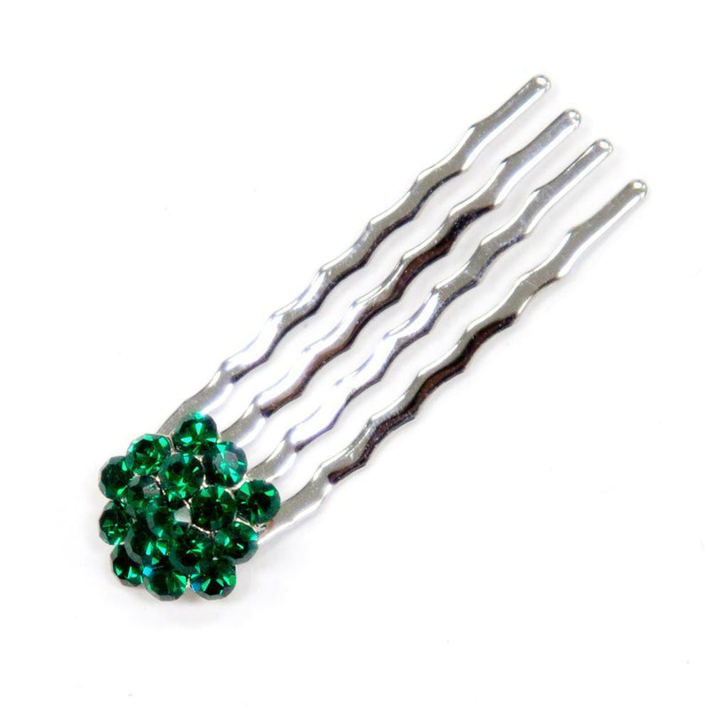 Soho Style Hair Comb DARK GREEN Crystal Cluster Mini Hair Comb
