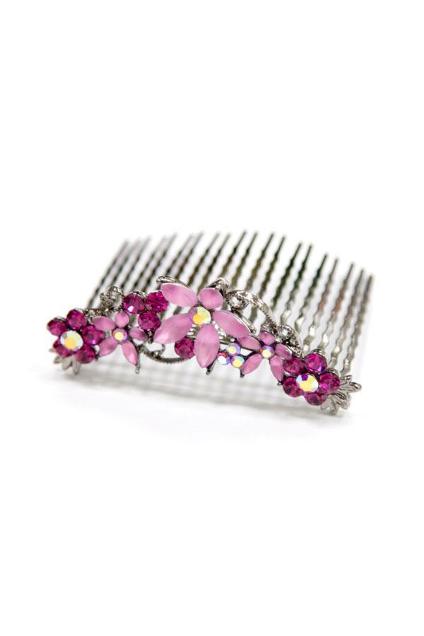 Crystal Hair Comb with Frosted Flowers