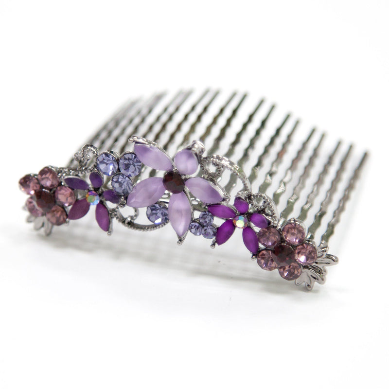 Soho Style Hair Comb Purple Crystal Hair Comb with Frosted Flowers