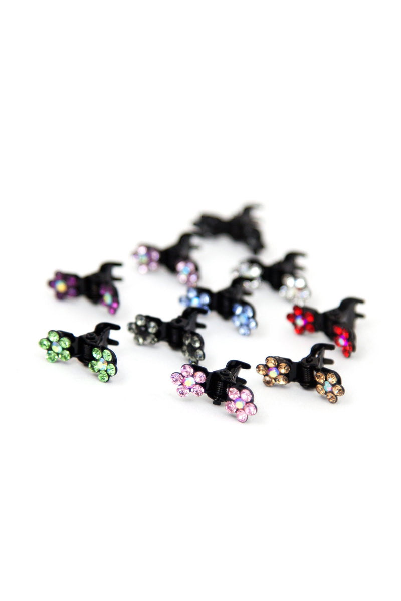 Soho Style Hair Jaws Clear / Pack of 10 Mini Flower Hair Jaws with Crystal Petals Black Body