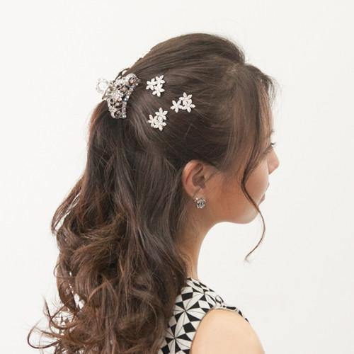 Soho Style Hair Jewelry clear Simple Medium-sized Hair Jaw with Crystal Flowers