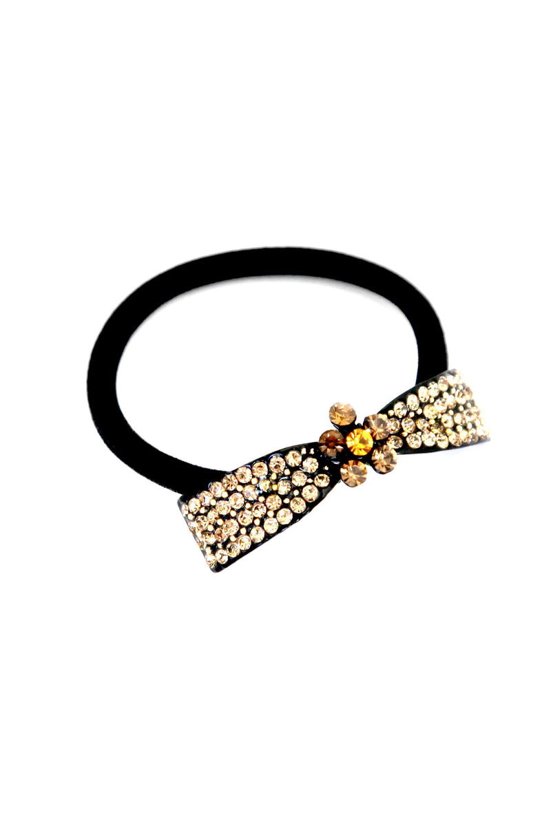 "Soho Style Ponytail Holder Amber / 2.1"" x 0.4"" Crystal Bow Ponytail Holder"