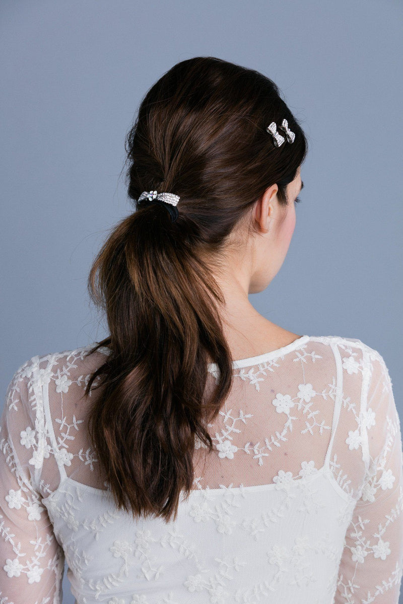 Crystal Bow Ponytail Holder -  Ponytail Holder, Soho Style