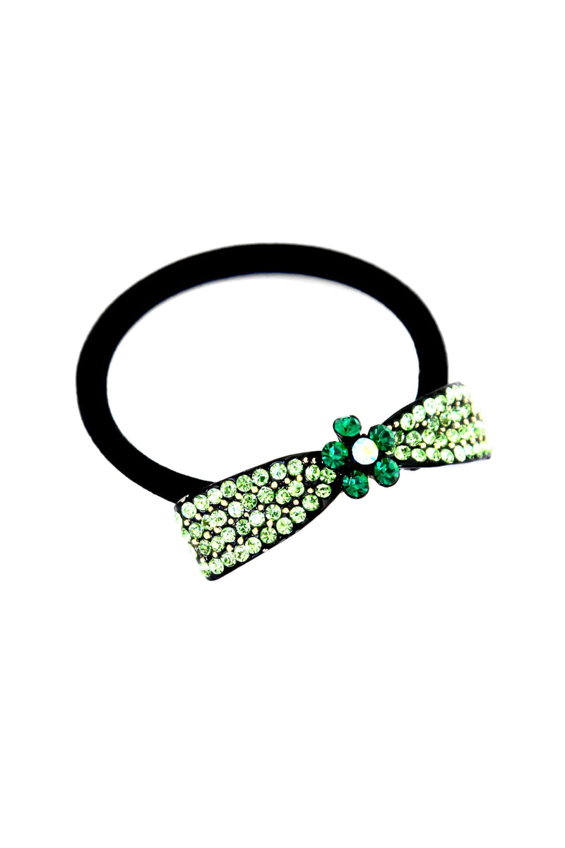 "Soho Style Ponytail Holder Green / 2.1"" x 0.4"" Crystal Bow Ponytail Holder"