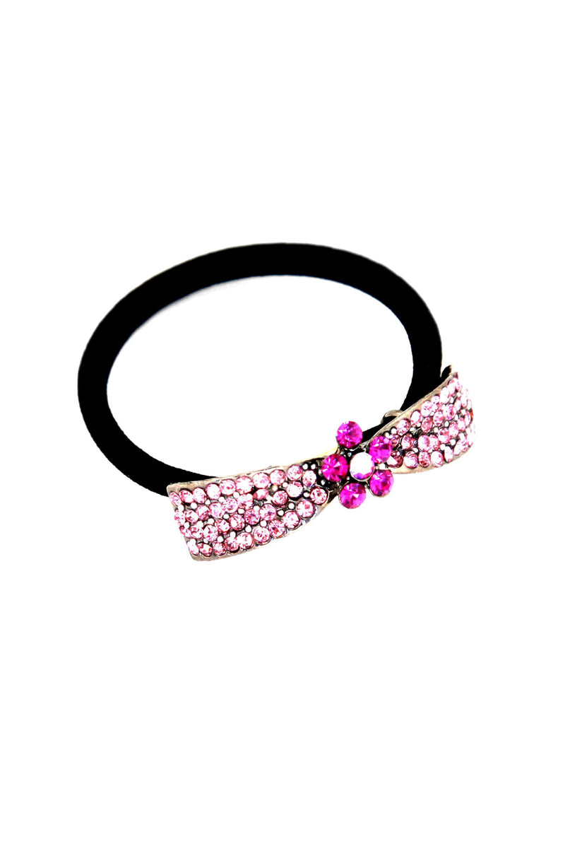 "Soho Style Ponytail Holder Pink / 2.1"" x 0.4"" Crystal Bow Ponytail Holder"